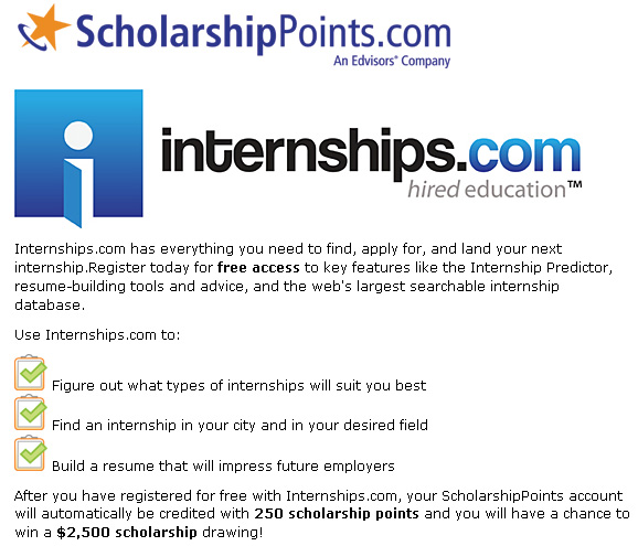 http://www.scholarshippoints.com/pro/internships/
