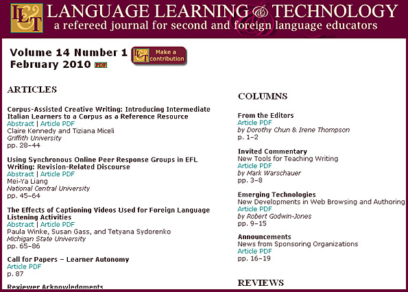 Online-based, free journal: Language Learning & Technology