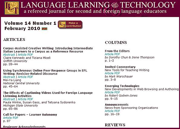 Online-based, free journal: Language Learning & Technology