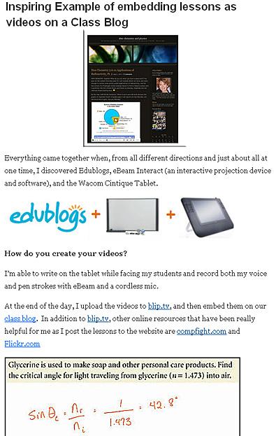 http://theedublogger.com/2010/05/10/inspiring-example-of-embedding-lessons-as-videos-on-a-class-blog/