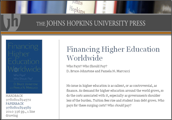 Financing Higher Education Worldwide -- a book discussing WHO should pay for higher education