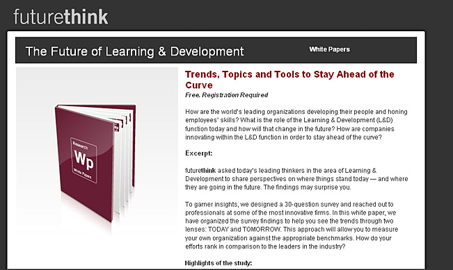 The Future of Learning & Development -- from Future Think
