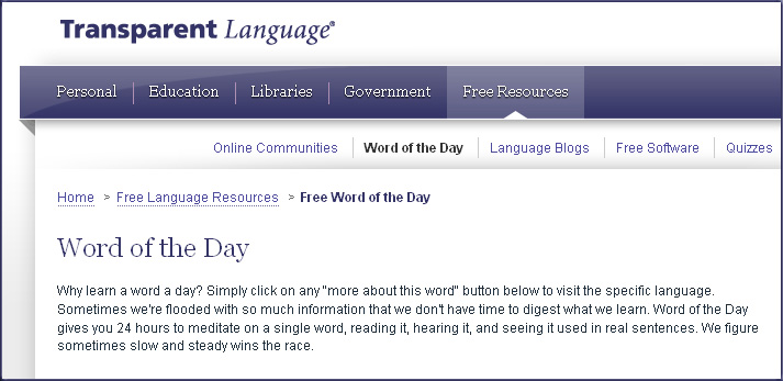Transparent Language's Word of the Day