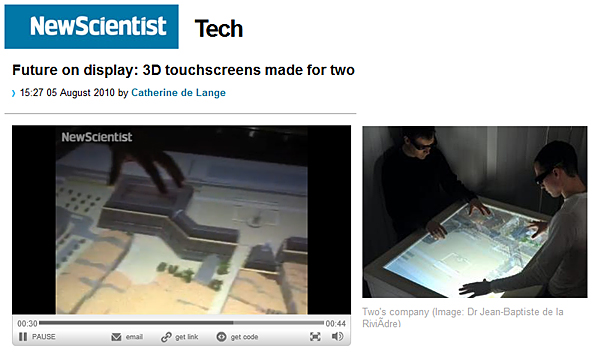 The future on display: 3D touchscreens made for two