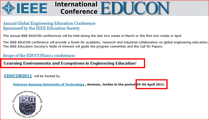 Learning Environments and Ecosystems in Engineering Education - upcoming conference in April 2011