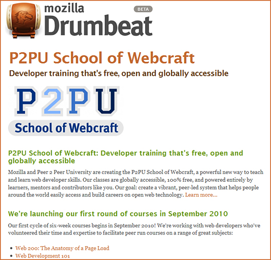 P2PU's World of Webcraft -- free courses re: web development