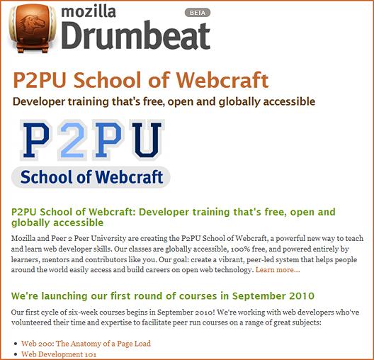 P2PU's World of Webcraft -- free courses re: web development