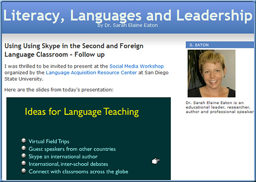 From Dr. Sarah Eaton: Using Skype in the second and foreign language classroom