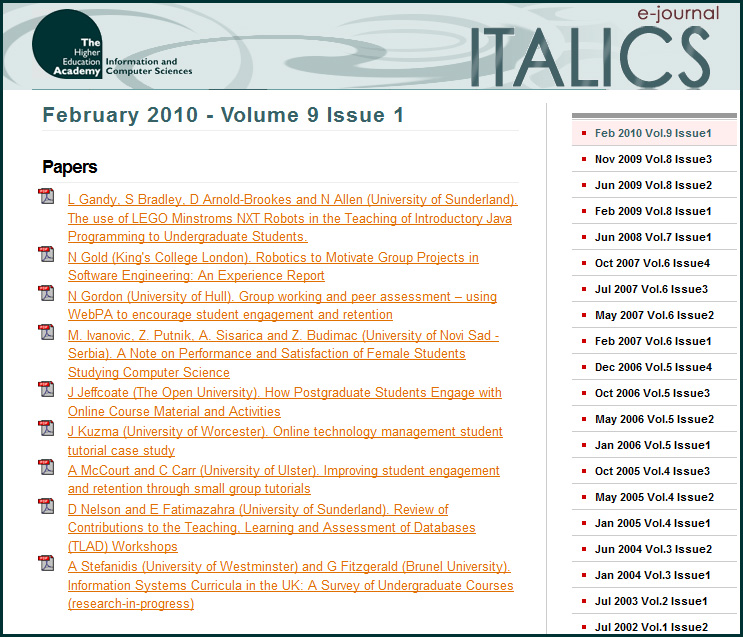 ITALICS -- an e-journal for those involved with computer science
