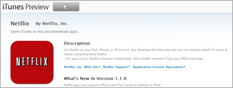 Netflix now available on the ipad, ipod and iphone