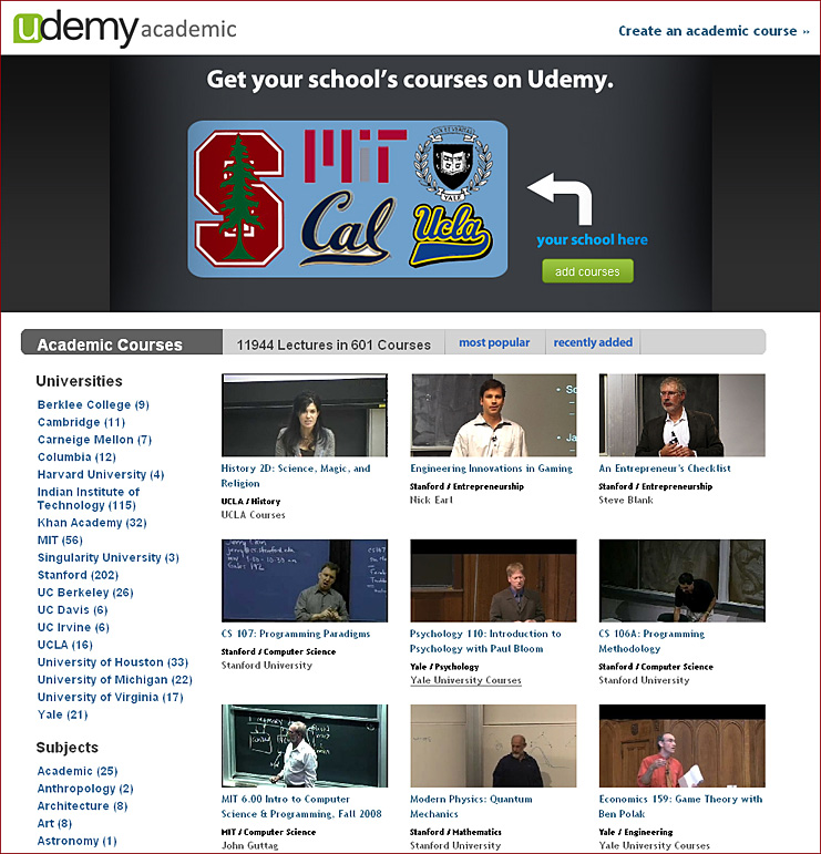 Udemy launches Udemy Academic with 600 courses – 12,000 video lectures