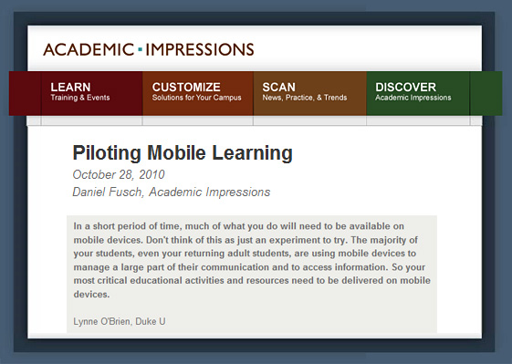 Piloting Mobile Learning