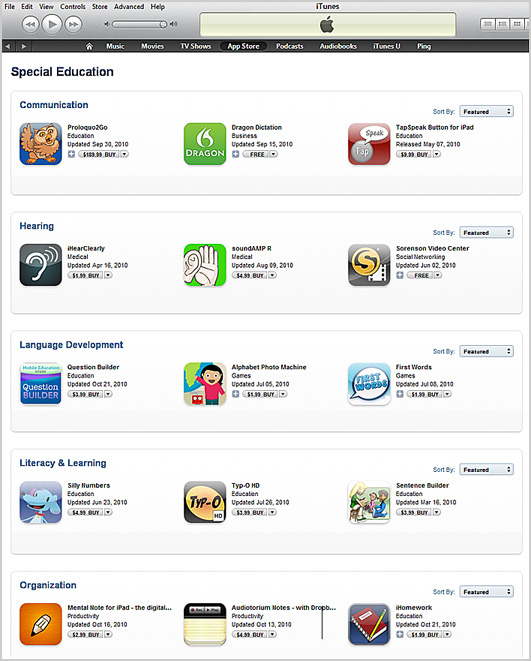 Special Education Section of iTunes Apps Store
