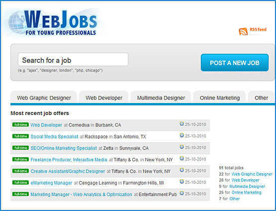 Web jobs for young professionals