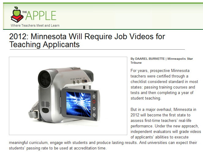 2012: Minnesota Will Require Job Videos for Teaching Applicants