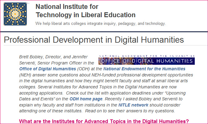 Professional Development in Digital Humanities