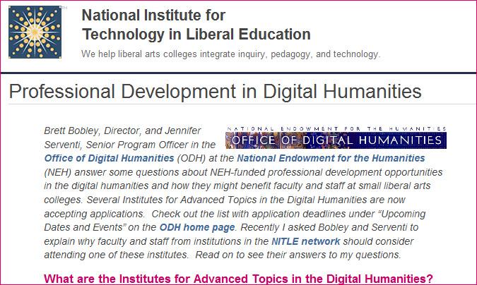 Professional Development in Digital Humanities