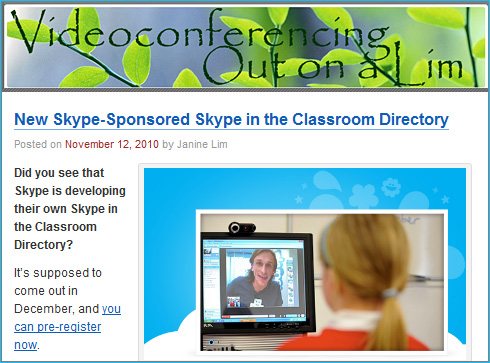 New Skype-sponsored Skype-in-the-Classroom Directory due out in December