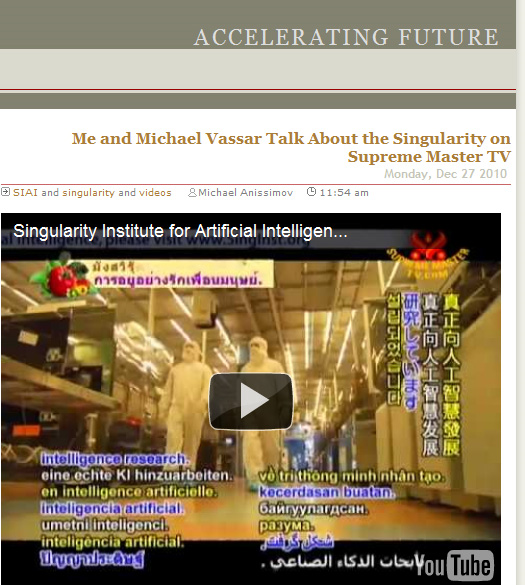 Michael Anissimov and Michael Vassar talk about The Singularity