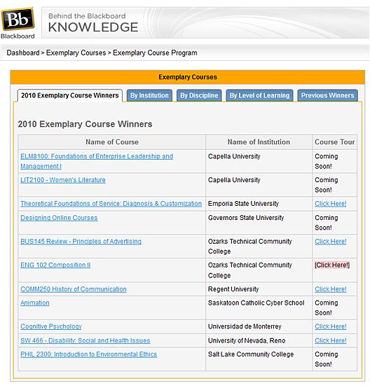 Blackboard Exemplary Course Winners for 2010