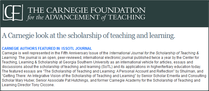 Carnegie authors featured in  ISSOTL Journal