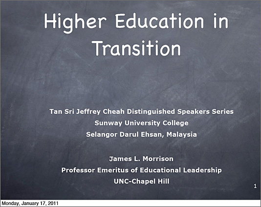 James Morrison -- Higher Education in Transition