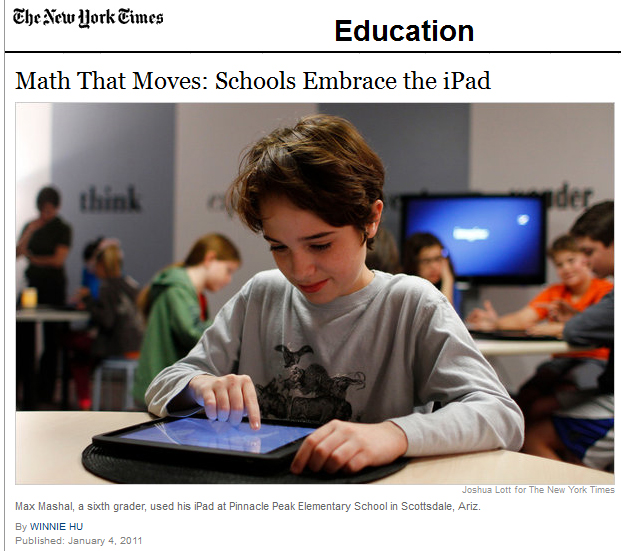 Math that moves -- the use of the iPad in K-12 -- from the New York Times