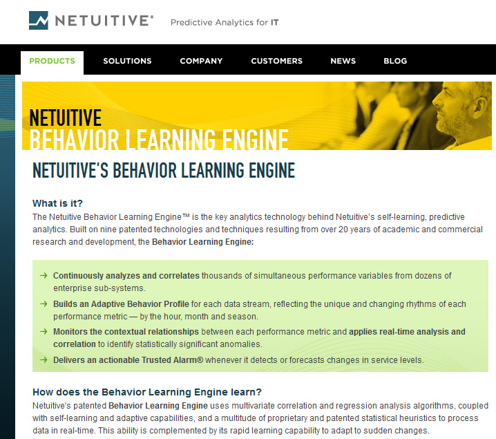 Behavior Learning Engine from netuitive.com