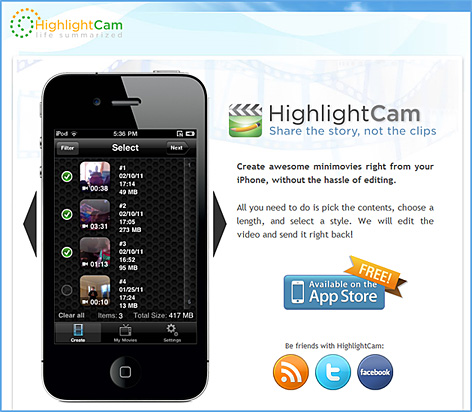 HighlightCam allows you to create minimovies from your pictures and video without doing any work at all. Promise! Just select the content and tell us how long you want your movie to be and we will do all the editing work for you to create a great minimovie.