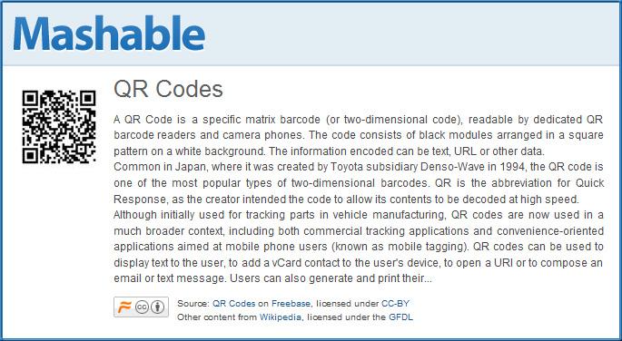 QR codes -- definition and examples from Mashable.com