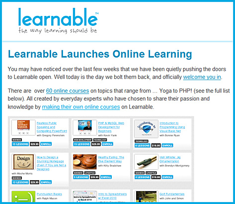 Learnable.com launches online learning -- March 15, 2011