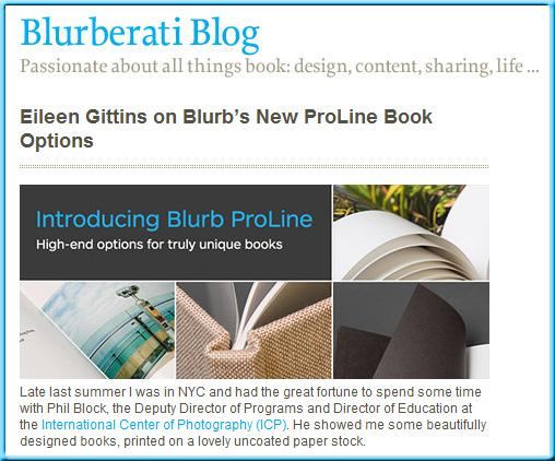 Eileen Gittins on Blurb.com's new ProLine book options