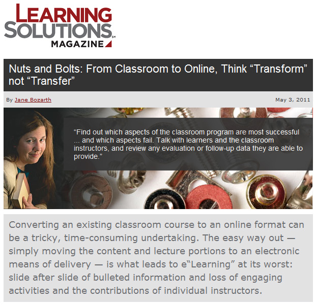 "Nuts and Bolts: From Classroom to Online, Think ""Transform"" not ""Transfer"""