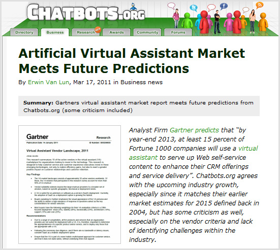 Artificial Virtual Assistants to grow in usage -- Gartner and Chatbots.org