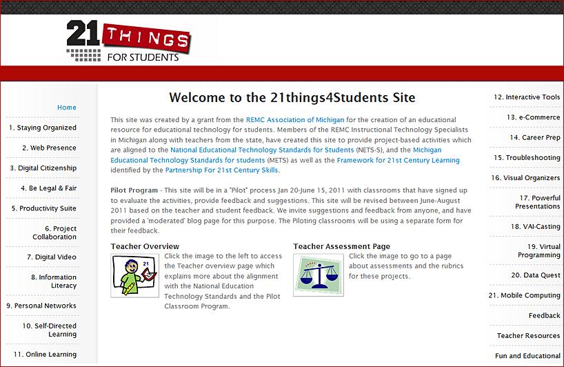 21 things for students website - Michigan, USA -- June 2011