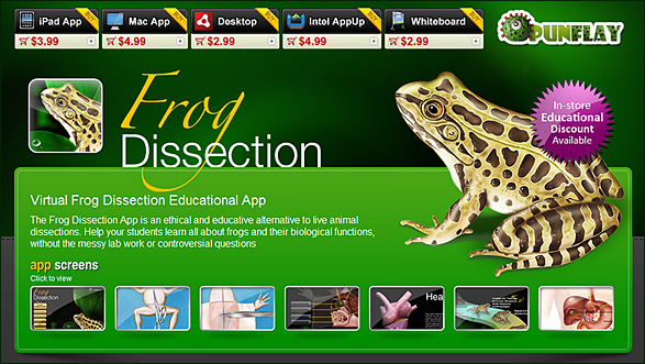 Frog Disection app from Punflay