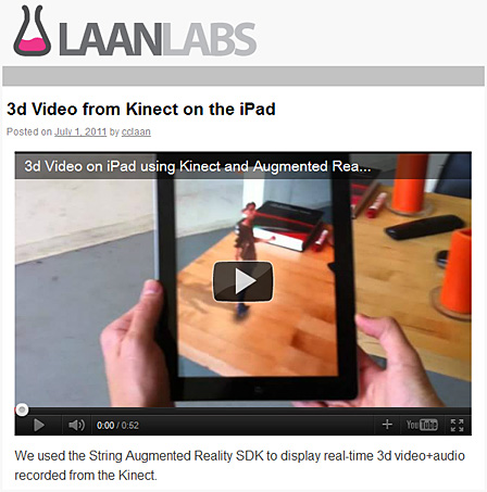 3d Video from Kinect on the iPad -- LAANLabs