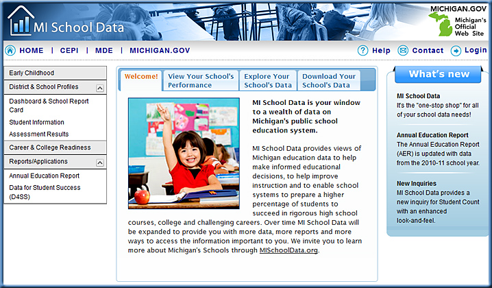 New Michigan School Data website introduced in August 2011