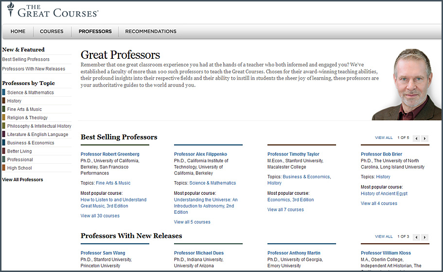 thegreatcourses.com -- professors