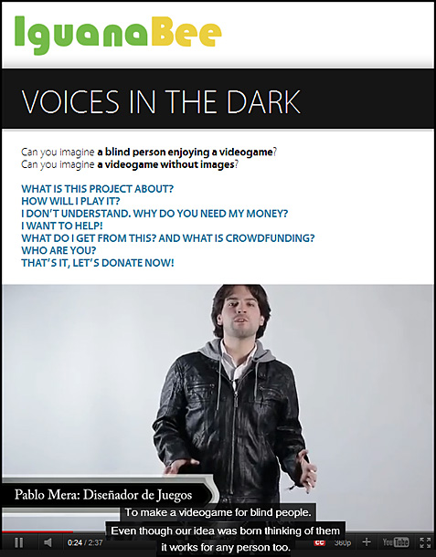 Voices in the Dark -- a videogame for the blind by IguanaBee.com