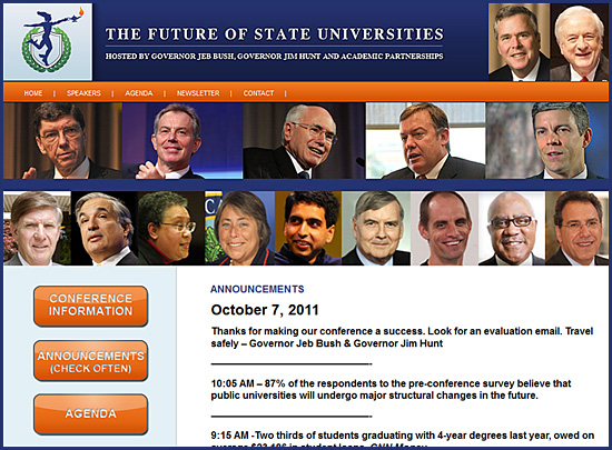 Check out some of these announcements from The Future of State Universities 2011 Conference