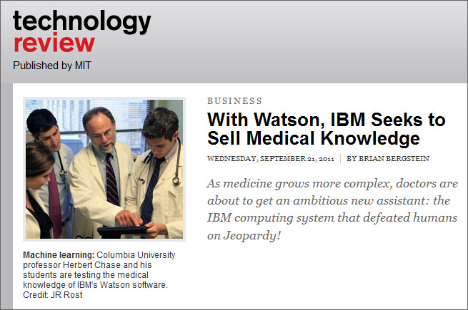With Watson, IBM seeks to sell medical knowledge