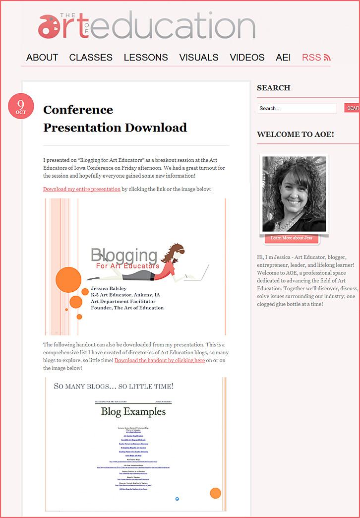 Blogging for Art Educators -- Jessica Balsley's recent presentation