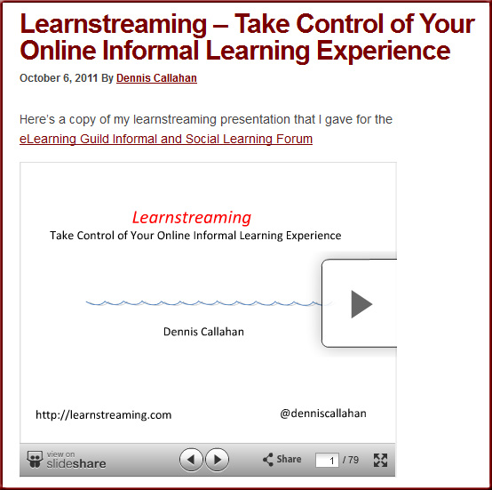 Learnstreaming: Take control of your online informal learning experience [Callahan]