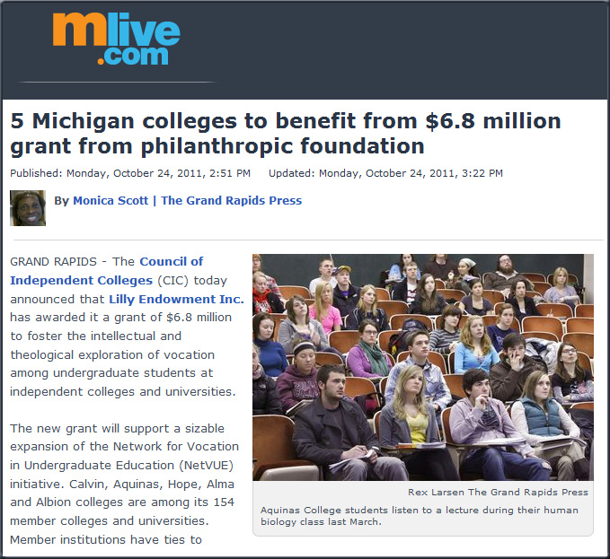 5 Michigan colleges to benefit from $6.8 million grant from philanthropic foundation -- from mlive.com by Monica Scott