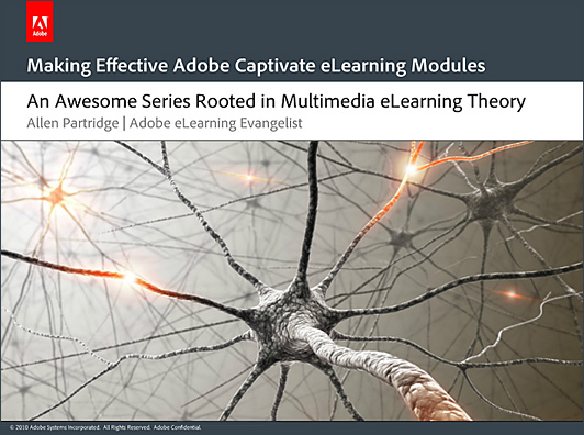 The principles of eLearning -- cognitive theory of multimedia design - by Allen Partridge