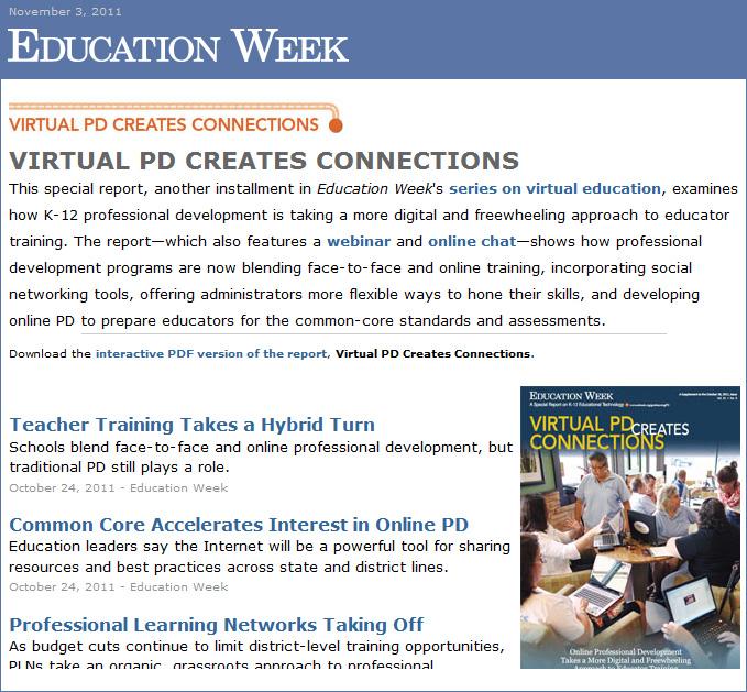 Ed Week -- Virtual Professional Development