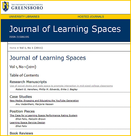 NEW -- Journal of Learning Spaces - Volume 1 from December 2011