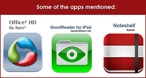 Some of the apps mentioned by Dr. Nick Morgan for presenting with an iPad