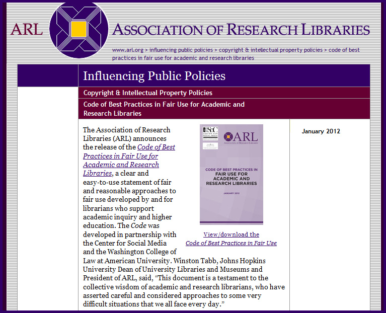 Fair Use Report from ARL - January 2012